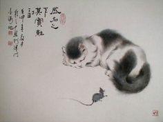 동양화로 그린 고양이들 멋지죠?? 먹물로 그려져서 그런지 더 한층 멋스런 그림들 같아요. 출처와 작가는 ...