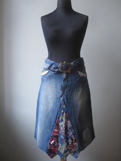 old jeans into a skirt