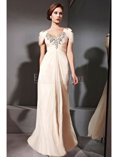 A-line Princess V-neck Floor-length Chiffon Tencel Malay Satin Luxury Evening Dresses