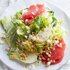 We love butter lettuce in this salad. Look for Bibb and Boston, both can be used interchangeably. /