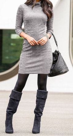 this with my mauve tshirt dress and grey cardi #winter #outfits Grey Turtleneck Dress // Black Tights // Black Suede Boots