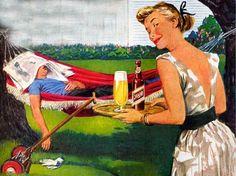 vintage beer ad.  He deserves that beer.  He's worked so hard.