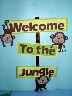 Monkey, Jungle, Birthday Party Welcome Sign by NottJustBows on Etsy https://www.etsy.com/listing/196603358/monkey-jungle-birthday-party-welcome