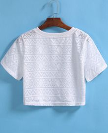 Geometric Pattern Hollow Crop White T-shirt