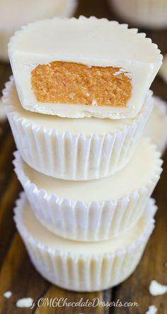 White Chocolate Pumpkin Cups | OMGChocolateDesserts.com |