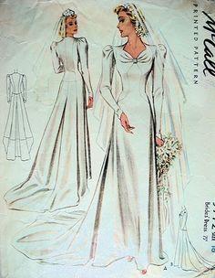 1940 BEAUTIFUL WEDDING GOWN BRIDAL DRESS