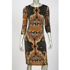 Joseph Ribkoff dress style 32689 ($143) ❤ liked on Polyvore featuring dresses, joseph ribkoff dresses, knee-length dresses, 3/4 sleeve dress, 3/4 length sleeve dresses and three quarter sleeve dress
