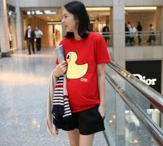 Lovely Duck Pattern Embellished Short Sleeve T-shirt    $12.15