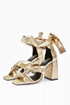Elevate your evening style to new stylish heights with these gold leather sandals with block heel and strap detailing. Heel height is approximately Upper: Leather. Specialist clean only. High Sandals, Shoes Sandals, Block Heel Boots, Block Heels, Silver Boots, Sandal Price, Latest Shoes, Gold Leather, Bridal Shoes