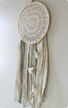 DIY Dream Catcher Made with Embroidery Hoop, Ribbon and Yarn.