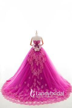 カラードレス プリンセス 取り外し式リボンとトレーン ビスチェ チェリーピンク JUL015003-p 価格 ¥67,932