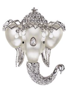 d4783ee4f70 Silvery Tone Clear Crystal Colored Rhinestones Matte Elephant Crown Brooch  Pin - Silver - C3119LR4F47 -