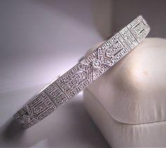 Vintage Diamond Bangle Bracelet Art Deco Style Retro