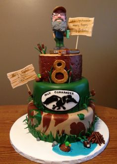 Duck Dynasty cake. Fondant (mmf) covered layers and accents, gumpaste signs, and bobble head Uncle Si. Happy Birthday, Jackson!