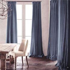 遮光カーテン 北欧カーテン インクブルー 無地柄 麻&綿 3級遮光カーテン(1枚)