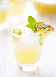 Cooling off with a tangy pineapple jalapeno sangria cocktail!