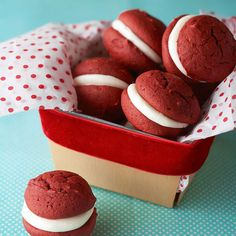 Red Velvet Whoopie Pies--Your favorite cake flavor is back and cuter than ever! Introducing our red velvet whoopie pies -- complete with a gooey marshmallow center sandwiched between two fluffy, cakelike cookies.
