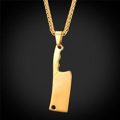U7® Flash Sale Up to 65% Off +Free Shipping Kitchen Knife Charms Pendant Necklace For Men Gift Broadsword Necklaces Hip Hop Jewelry