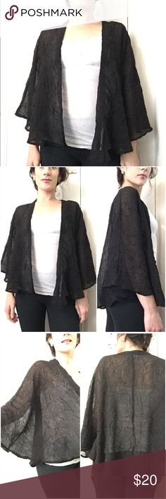 """Staring At Stars Black Cape/Cardi/Shrug *Size: SMALL *Crinkle Material *100% polyester  *Batwing style *Approx. 24.5"""" long and 22.5"""" from collar to end of arm  Tags: Urban Outfitters Staring at Stars black cape spring cardi top Staring at Stars Jackets & Coats"""