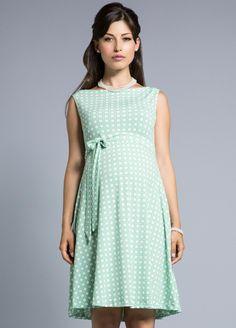 Queen Bee Mint Green Basket Print Maternity Swing Dress by Leota