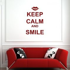 Keep Calm And Smile Wall Art Quote Stickers - Keep Calm Quotes - Wall Quotes