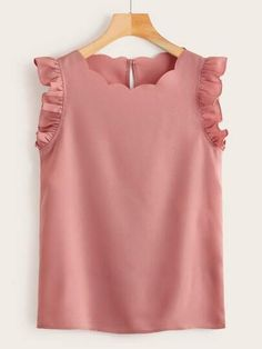 To find out about the Plus Ruffle Armhole Scallop Edge Top at SHEIN, part of our latest Plus Size Blouses ready to shop online today! Plus Size Blouses, Plus Size Tops, Blouse Styles, Blouse Designs, Looks Plus Size, Spring Tops, Summer Shirts, Types Of Sleeves, Shirt Blouses