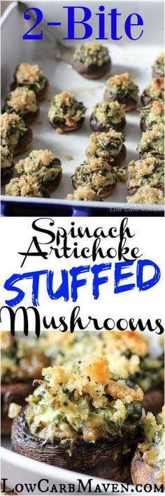 Two-Bite Spinach Artichoke Stuffed Mushrooms are the perfect party bite! Low Carb, Gluten-free, Keto, THM LowCarbMaven.com
