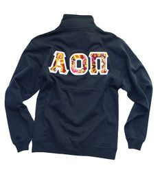 """The """"Hope"""" half-zip pull over comes in Navy and White, with AOII embroided in the front and gorgeous stitch letters on the back."""