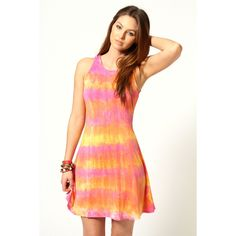 Ruth Rainbow Tie Dye Skater Dress ($30) ❤ liked on Polyvore