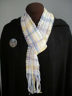 Pastel Shades of Purple, Blue, White and Yellow Cotton Handwoven Women's Scarf