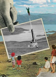 Sammy Slabbinck is a Belgian graphic design artist who renders dynamic collage prints that combine vintage photographs with contemporary compositional styles. See his work at Smartpress.com.