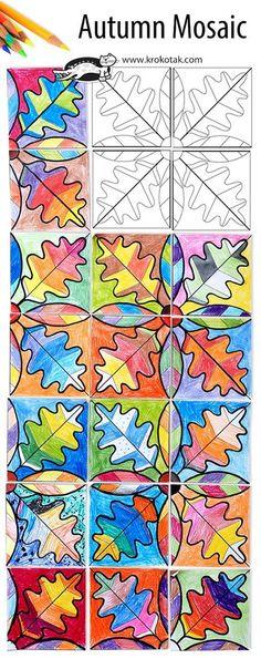 Fall arts & crafts for kids: Autumn Mosaic Fall Art Projects, School Art Projects, Projects For Kids, Classe D'art, 3rd Grade Art, Autumn Crafts, Diy Autumn, Nature Crafts, Summer Crafts