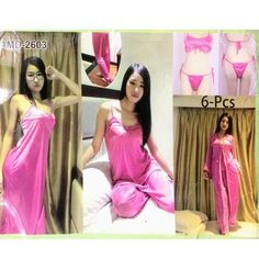 5dc2da0d8c 6 Pcs Wedding Silk Nighty Set with Gown - AMD-2603 - Nighty Sets -