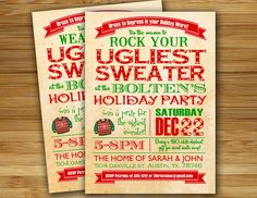 Holiday party invitation - Ugly Sweater Christmas party invitation - Adult holiday party invite. $18.00, via Etsy.