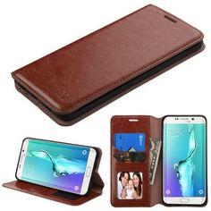MYBAT Flip Stand Leather Wallet Galaxy S6 Edge Plus Case - Brown