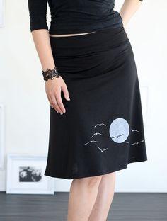 Black knee length skirt A-line jersey skirt - The sunset and the flying birds