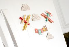 BasicGrey Altered : Refrigerator Airplane Banner magnets from clothespins and pop sticks