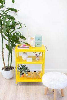 a pop of yellow in your home is always a good idea. see how lovely indeed refreshed this metal rolling cart + kept it clean with a little help from us. Furniture Update, Diy Dog Treats, Yellow Interior, Metal Cart, Handmade Home, Diy Stuffed Animals, Mellow Yellow, Upcycled Furniture, Home Decor Styles