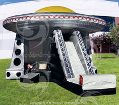 UFO Spaceship Combo Slide Bouncer Climber Inflatable N-Flatables We've taken the interstellar wonder of UFO Bouncer and have added a climb & slide! This bouncer combo will keep little space travelers coming back for more!