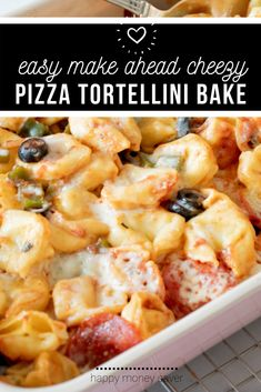 This easy, cheesy, tortellini bake is such a great freezer meal!! It requires simple ingredients, all of which are so delicious!! #easy #freezermeal #makeahead #pizzabake | happymoneysaver.com Vegetarian Freezer Meals, Chicken Freezer Meals, Freezer Friendly Meals, Healthy Freezer Meals, Easy Weeknight Meals, How To Make Tortellini, Tortellini Bake, Pasta, Easy To Make Dinners
