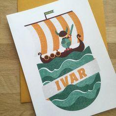 Geboortekaartje voor Ivar! Made by Studio Enkelvoud #viking #birthcards #geboortekaartje #birthannoucement #illustratie #illustration #boat
