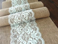 Wedding table runner mint rustic chic wedding by HotCocoaDesign, $22.00  but instead of mint, a different wedding color?