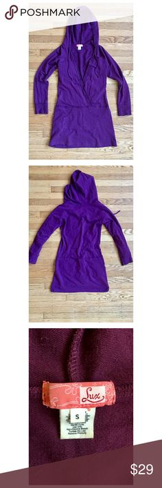Urban Outfitters LUX Oversided Hoodie Urban Outfitters in House Label LUX size Small. Pullover Ease of Dress   Deep purple color. Style is Distressed  Soft And Comfy. EUC minor general wear. Deep V Cross Over front. This would make a perfect layer for summer nights ❤✌️😍🙏 Urban Outfitters Tops Sweatshirts & Hoodies
