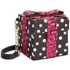 Betsey Johnson Gift Box Sequin Crossbody ($20) ❤ liked on Polyvore featuring bags, handbags, shoulder bags, polka dot, polka dot crossbody purse, bow purse, polka dot handbag, sequin purse and sequin handbags