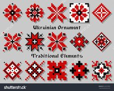 Vector Traditional Elements of Ukrainian Ornament Decorative Set Embroidery Motifs, Hand Embroidery Designs, Ribbon Embroidery, Cross Stitch Embroidery, Cross Stitch Designs, Cross Stitch Patterns, Geometric Shapes Art, Palestinian Embroidery, Crochet Christmas Ornaments