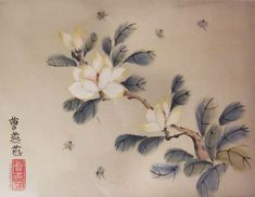 Magnolia with honeybees painting by Tracie Griffith Tso of Reston, Va. Ink on buff rice paper.