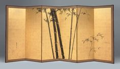 Kishi Ganku, Japanese, Screens with bamboo pattern, 1829 Japanese Screen, Japanese House, Japanese Prints, Japanese Design, Organizar Closet, Floor Screen, Decorative Screens, Art Japonais, Japanese Interior