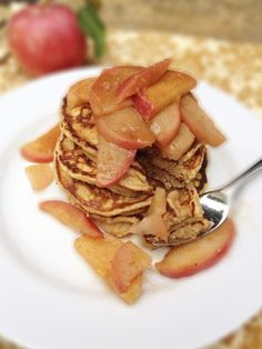Whole Grain Pancakes with Warm Apple Spice Topping - The Lemon Bowl