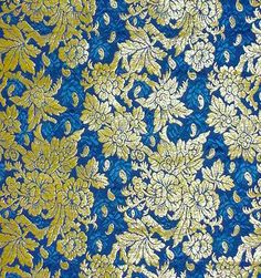 Blue Silk Panel with Gold Brocading French (Lyon, for Persian market), 1881