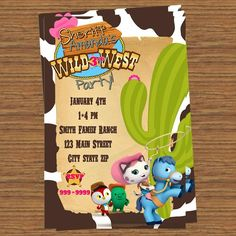 Sheriff Callie Party Invitation physical 1.25 each